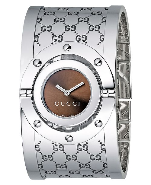 fd78dad5df8 ... Gucci Women s Twirl Collection Stainless Steel Bangle Bracelet Watch  23mm YA112401 ...