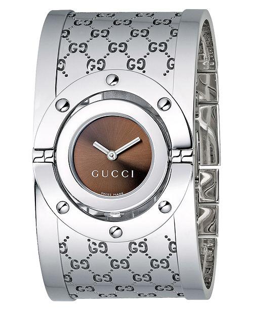 Gucci Women's Twirl Collection Stainless Steel Bangle Bracelet Watch 23mm YA112401