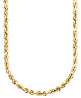 14k Gold Diamond-Cut Rope Chain Necklace (2-1/2mm)