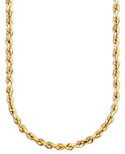 14k Gold Diamond-Cut Rope Chain Necklace