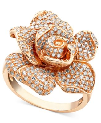 Pave Rose by EFFY Diamond Ring in 14k Rose Gold 118 ct tw
