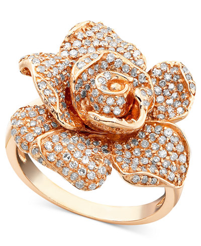 Pave Rose By Effy Diamond Ring In 14k Rose Gold 1 1 8 Ct
