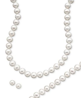 Cultured Freshwater Pearl Necklace 89mm Stud Earrings 7mm
