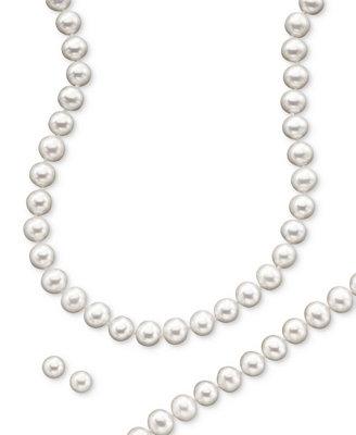 Cultured Freshwater Pearl Necklace (8 9mm), Stud Earrings (7mm) & Bracelet (8 9mm) Set In  14k Gold by Macy's