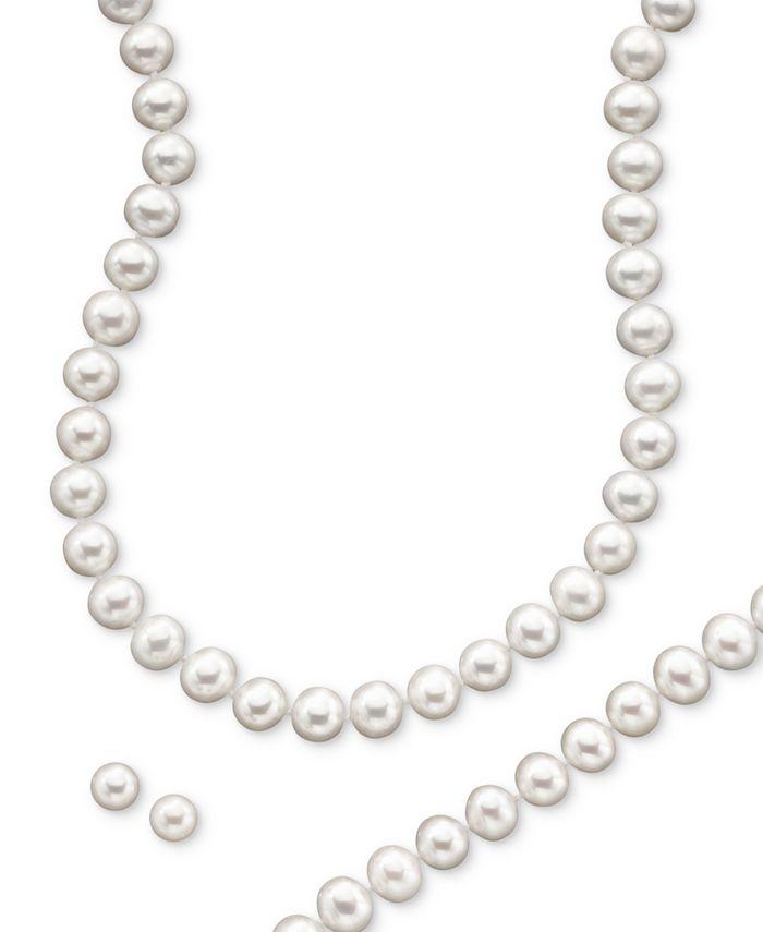 Macy's - 14k Gold Cultured Freshwater Pearl Necklace, Earring & Bracelet Set