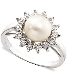 Cultured Freshwater Pearl (8mm) & Diamond Accent Ring Set in 10k White Gold