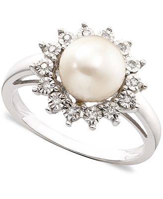10k White Gold Ring Cultured Freshwater Pearl & Diamond Accent