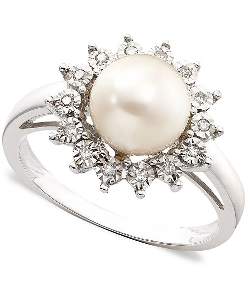 80f6b1b17 ... Macy's 10k White Gold Ring, Cultured Freshwater Pearl & Diamond ...