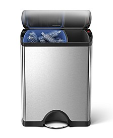 46-Liter Brushed Stainless Steel Dual Recycler Step Trash Can
