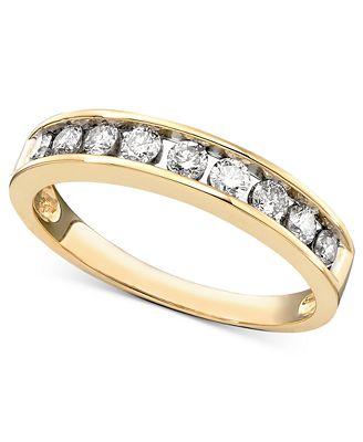 Macy S Diamond Channel Ring In 14k Gold 1 2 Ct T W Rings