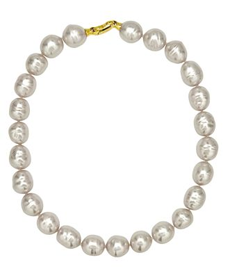 Majorica 18k Gold over Sterling Silver Necklace, Organic Man-Made White Baroque Pearl
