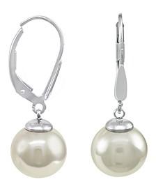 Sterling Silver Earrings, Organic Man-Made Pearl
