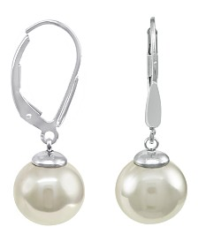 Majorica Sterling Silver Earrings, Organic Man-Made Pearl
