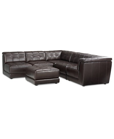 Stacey Leather 6-Piece Modular Sofa