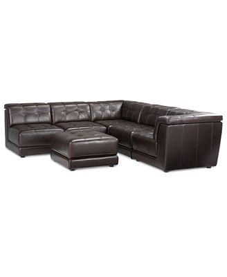 Stacey Leather 6-Piece Modular Sofa