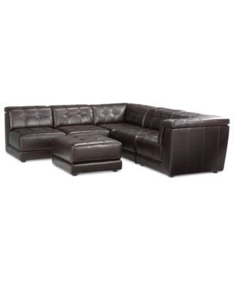 Stacey Leather 6-Piece Modular Sofa  sc 1 st  Macyu0027s : stacey leather sectional sofa - Sectionals, Sofas & Couches