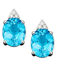 14k White Gold Earrings, Blue Topaz (5-1/2 ct. t.w.) and Diamond (1/10 ct. t.w.)