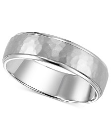 14k White Gold Hammered 6mm Wedding Band