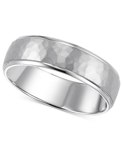 14k White Gold Engraved 6mm Wedding Band