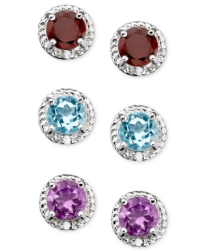 Victoria Townsend Sterling Silver Three Piece Earring Set, Blue Topaz, Garnet and Amethyst Studs