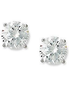 CRISLU Earrings, Platinum Over Sterling Silver Cubic Zirconia Stud Earrings (6 ct. t.w.)