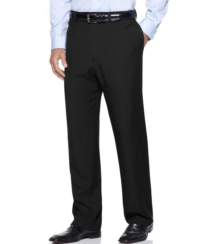 Haggar - Men's Stria Classic Fit Flat Front Hidden Expandable Dress Pants