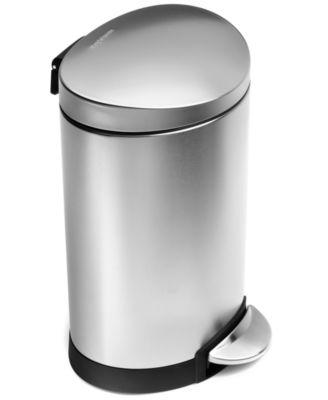 Simplehuman Trash Can, Mini Semi Round Step Can, 6 Liter