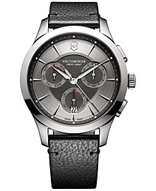 Men's Swiss Chronograph Alliance Black Leather Strap Watch 44mm 241748