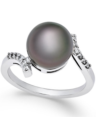 Cultured Tahitian Pearl (10mm) and Diamond (1/10 ct. t.w.) Ring in 14k White Gold