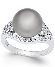 Cultured Tahitian Pearl (11mm) and Diamond (5/8 ct. t.w.) Ring in 14k White Gold