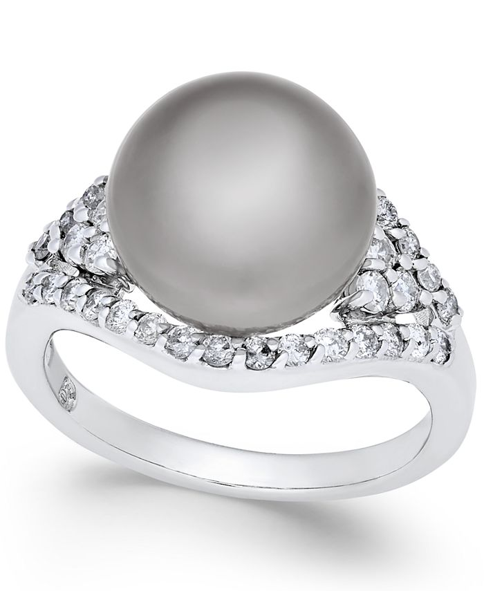 Macy's - Cultured Tahitian Pearl (11mm) and Diamond (5/8 ct. t.w.) Ring in 14k White Gold