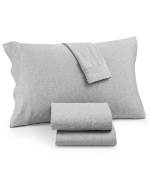 Heathered Cotton Jersey 3Pc Solid Twin Sheet Set Bedding