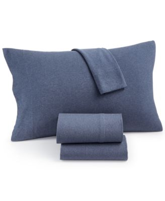 Heathered Cotton Jersey 3-Pc. Solid Twin Sheet Set