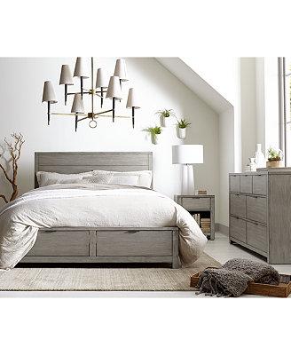 Furniture Tribeca Grey Storage Platform Bedroom Furniture