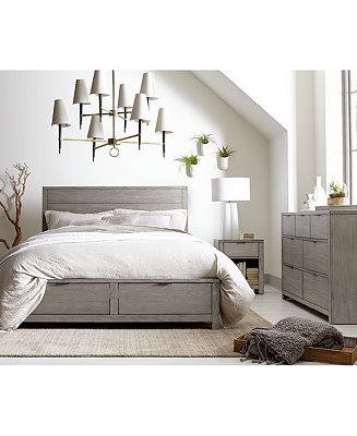 Tribeca grey storage platform bedroom furniture collection for Gray bedroom furniture sets