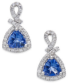 Tanzanite (3/4 ct. t.w.) and Diamond (1/4 ct. t.w.) Drop Earrings in 14k White Gold