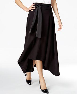 JAG Pull On Ribbon-Tie Asymmetrical-Hem Skirt
