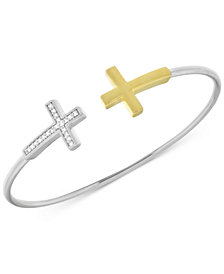 Wrapped Diamond Cross Flexie Bangle Bracelet (1/6 ct. t.w.) in Sterling Silver & 14k Gold-Plate, Created for Macy's