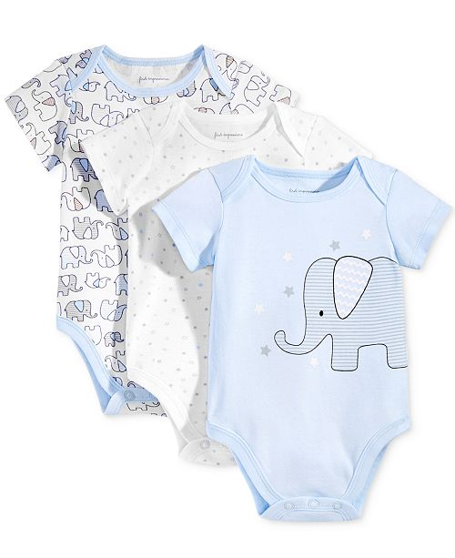 First Impressions Baby Boys 3-Pk. Elephant Bodysuits, Created for Macy's