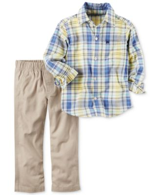 baby guess outlet vgrr  Carter's 2-Pc Plaid Shirt & Canvas Pants Set, Baby Boys 0