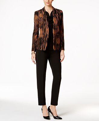 Kasper Printed Jacket, Knit Top & Ankle Pants