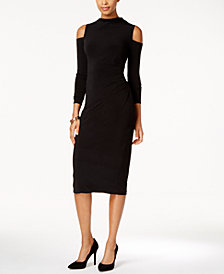 RACHEL Rachel Roy Cold-Shoulder Midi Dress