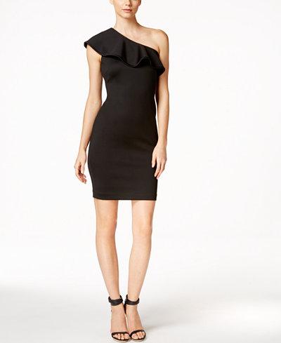 Calvin Klein Ruffled One Shoulder Sheath Dress Women