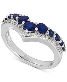 Sapphire (1-1/3 ct. t.w.) and Diamond (1/8 ct. t.w.) Chevron Ring in 14k White