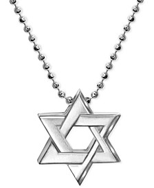 Star of David Beaded Pendant Necklace in Sterling Silver