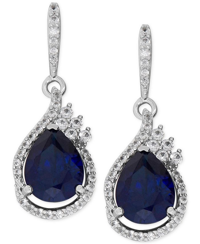 Macy's - Lab-Created Blue Sapphire (4-5/8 ct. t.w.) and White Sapphire (1/2 ct. t.w.) Drop Earrings in Sterling Silver