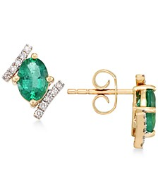 Emerald (1-3/8 ct. t.w.) and Diamond (1/8 ct. t.w.) Stud Earrings in 14k Gold