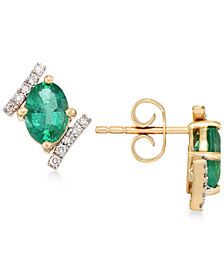 RARE Featuring GEMFIELDS Certified Emerald (1-3/8 ct. t.w.) and Diamond (1/8 ct. t.w.) Stud Earrings in 14k Gold