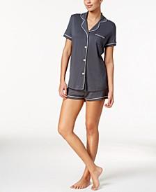 Bella Satin-Trim Short Pajama Set AMORE9621, Online Only