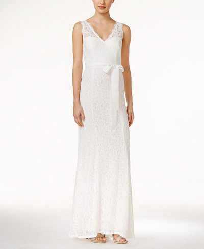 Adrianna Papell Lace V-Neck Sash Gown - Dresses - Women - Macy\'s
